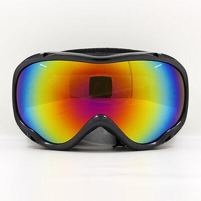 Sports Snowmobile Snowboard Winter Ski Goggles Dual-Lens Anti Fog UV Black Frame