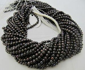AAA-Quality-Natural-Black-Pearl-Round-Shape-Beads-15-16-Strand-FREE-SHIPPING