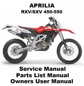 Aprilia Rxv Sxv 450 550 Owners Workshop Service Repair Parts Manual In Pdf Files Ebay