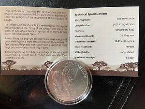 2016-Republic-of-Congo-African-Lions-1-oz-999-Fine-Silver-Coin-5000-Francs-COA