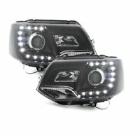 VW Transporter T5.1 LED DRL Black Projector Headlights Brand New Boxed 2010 On