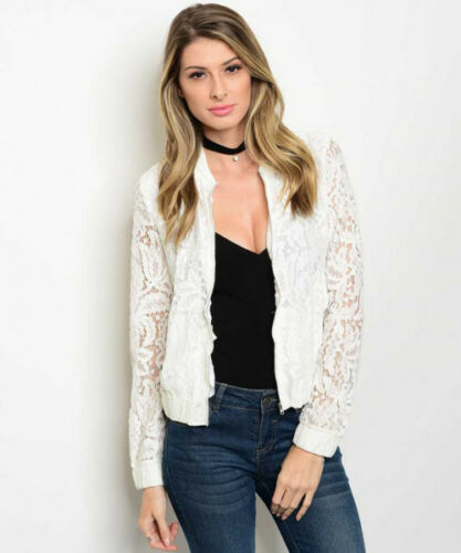 Women Lace Lined Bomber Jacket Vest Blouse Sweater Casual Moto Coat Casual Cute