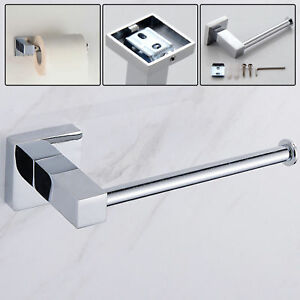 Modern Bathroom Toilet Roll Holder Chrome Wall Mounted Square Design 620947259462