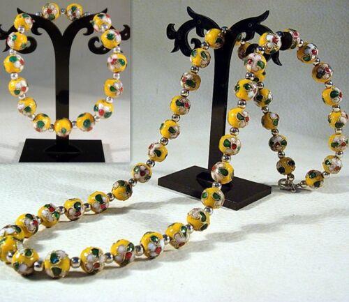 Bracelet Set Handcrafted Fashion Cloisonne Yellow Bead Flower Design Necklaces