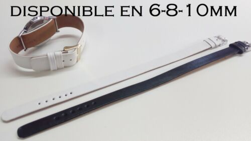 Bracelet montre pour montre avec anses soudées dispo.en noir et blanc de 6 à10mm