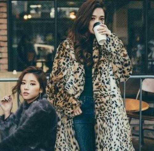 Long Furry Parka Mid Winter Overcoat Kanin Fur Leopard Print Coat Women Jacket 78vYw