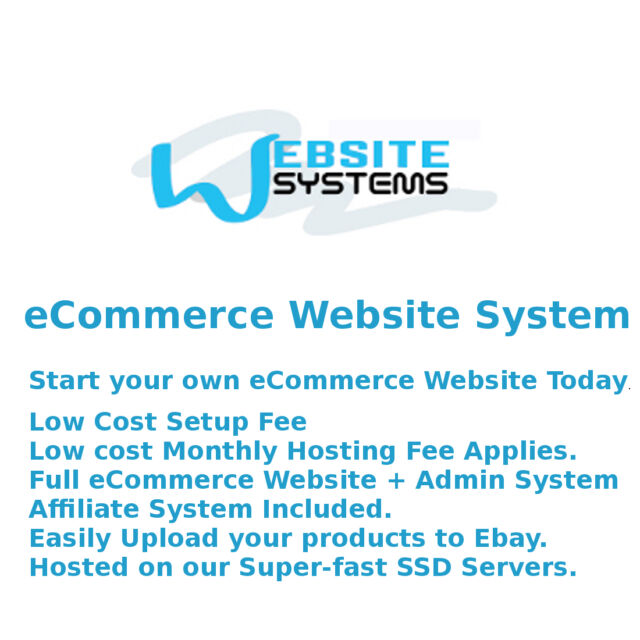 Website Systems™ 1GB SSD eCommerce Website - Create your Online Shop Today £10/m