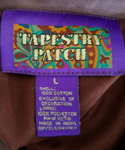 Tapestry Brun Broderet Jakke Patch Bier L Solsikker Beaded Dame Sz TTHq7