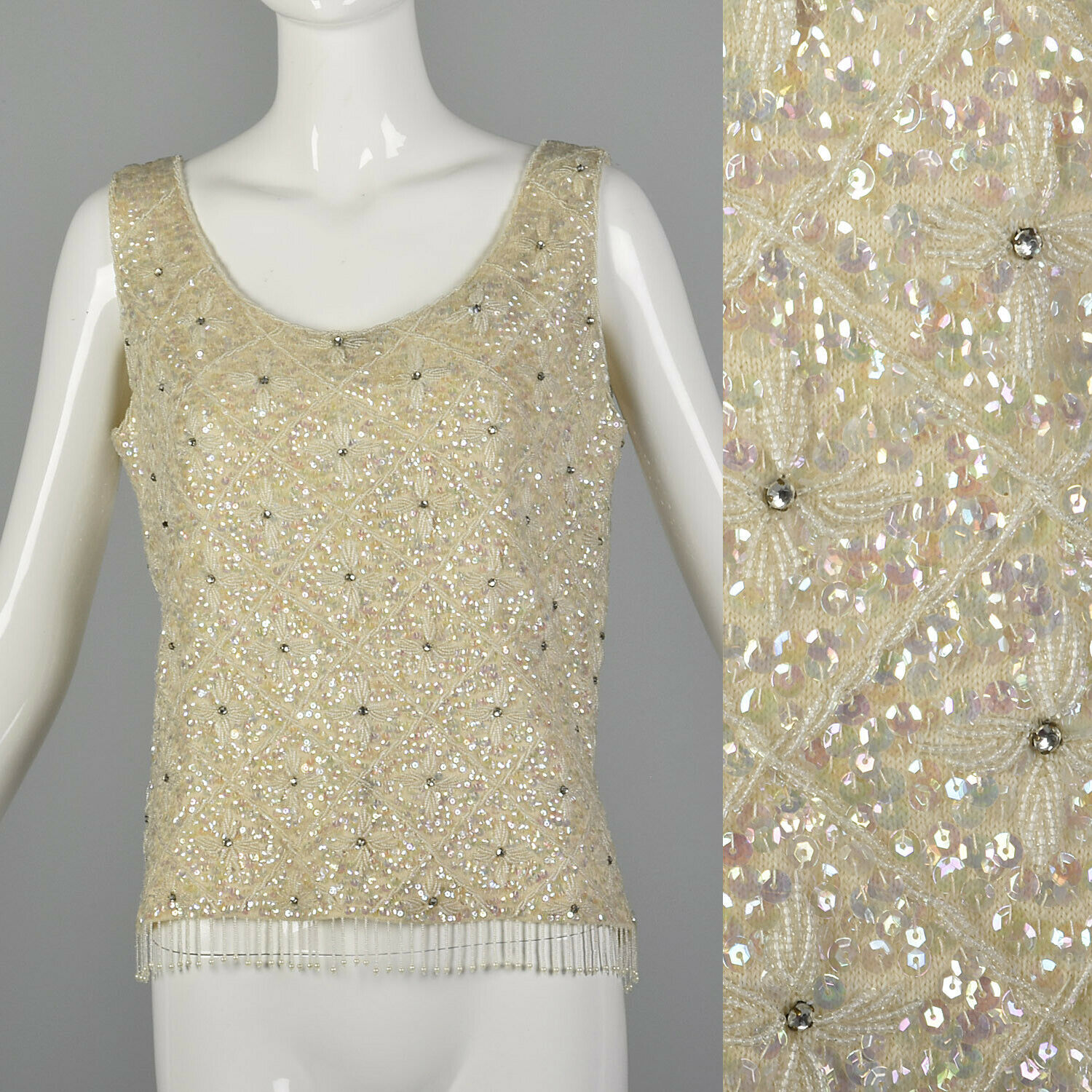 Medium 1960s Iridescent Sequin Blouse Vintage Sleeveless VTG 60s Wedding Top
