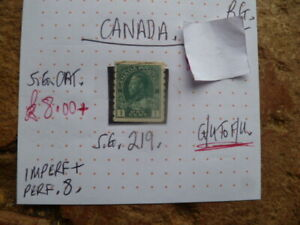 CANADA-STAMP-KGV-1C-SG-219-G-U-F-U