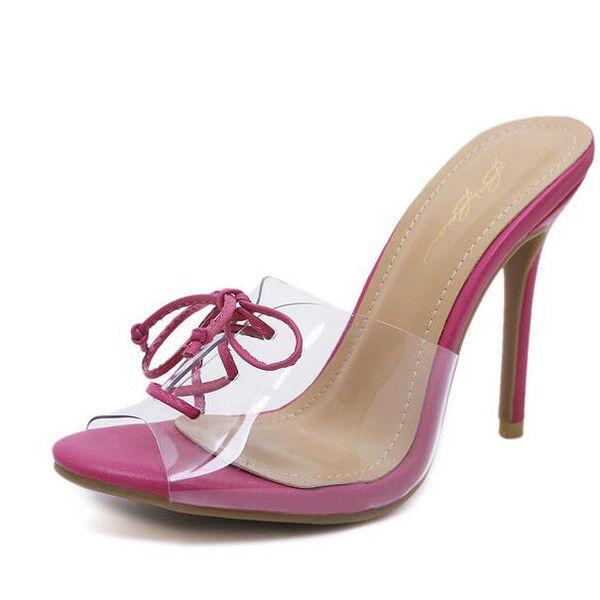 Sandali trasparente stiletto eleganti sabot 11 rosa trasparente Sandali simil pelle eleganti CW871 2b4eb7