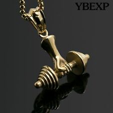 Mens Stainless Steel Weightlifting Barbell Pendant  Necklace Bodybuilding Chain