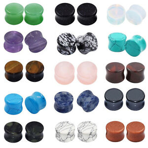 ALL-15-PAIRS-Stone-Plugs-Organic-Double-Flared-Ear-Gauges-Body-Jewelry-Lots