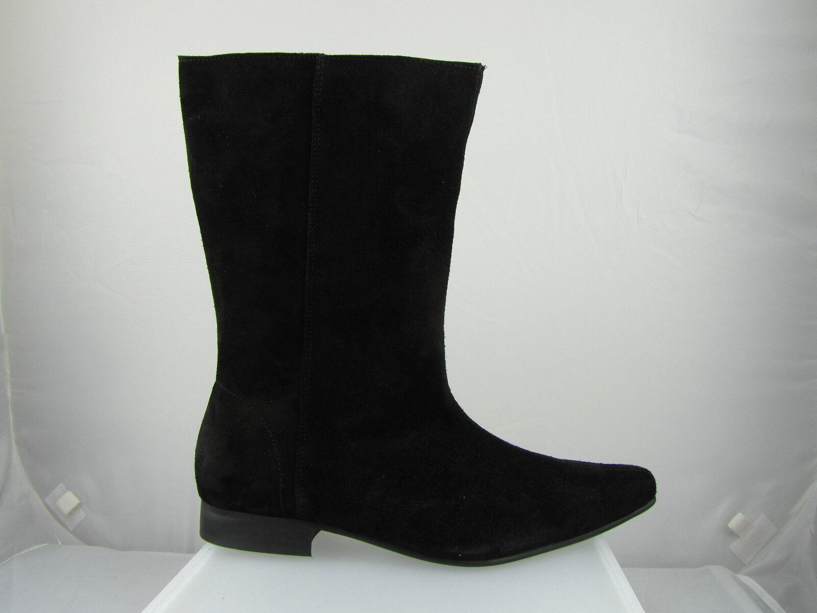 Retro Mens Lennon Hi Black Suede Beat  Heel Beatle Boots Handmade Pointed