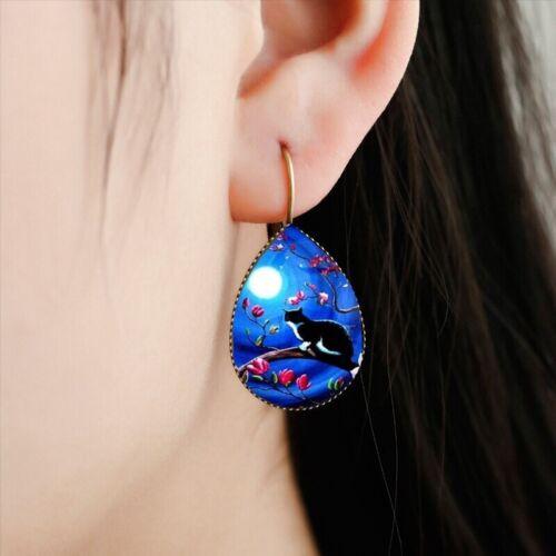 Earrings Cat On Branch Full Moon