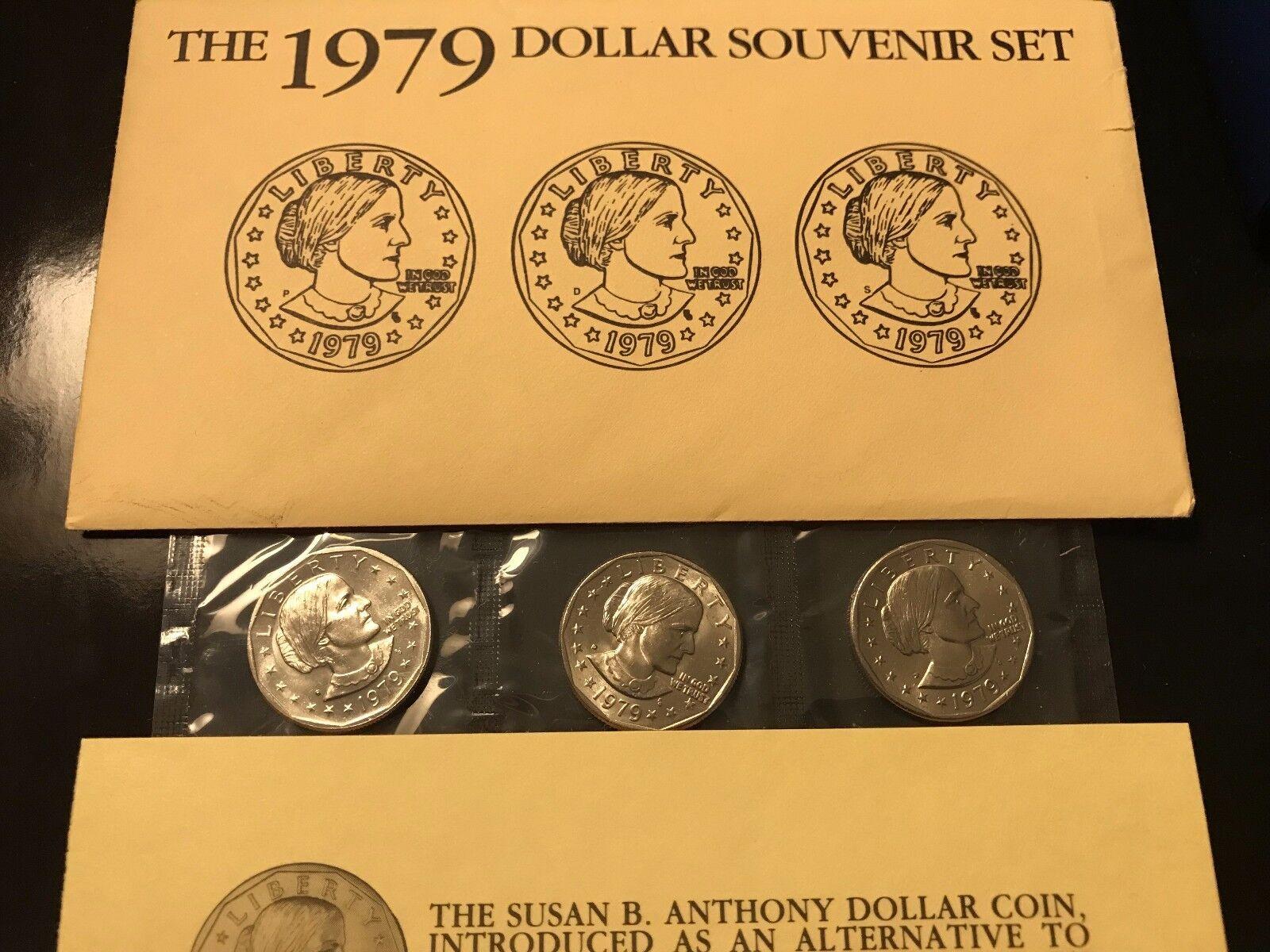 Anthony SBA Dollars Souvenir P D S Mint Envelope 6 coin set 1979 1980 Susan B