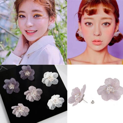 Élégant Femme pétales Acrylique Crystal Big White Camellia Fleur Boucles D/'oreilles Clou