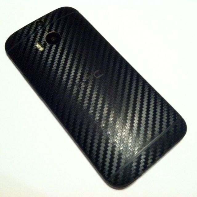 HTC ONE M8 - FULL BODY SKIN - BLACK 3D Textured Carbon Fiber Vinyl Decal Wrap