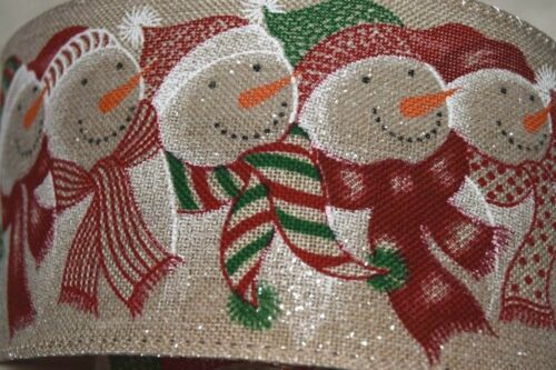 Christmas Wired Ribbon High Quality Happy Snowman Ideal For Gifts Crafts Bows ..