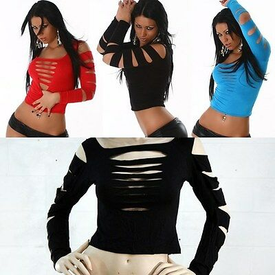 Clubwear Pick Your Color Cuts Long Sleeve Stretchy Shirt Sexy Bust Holes T-shirt
