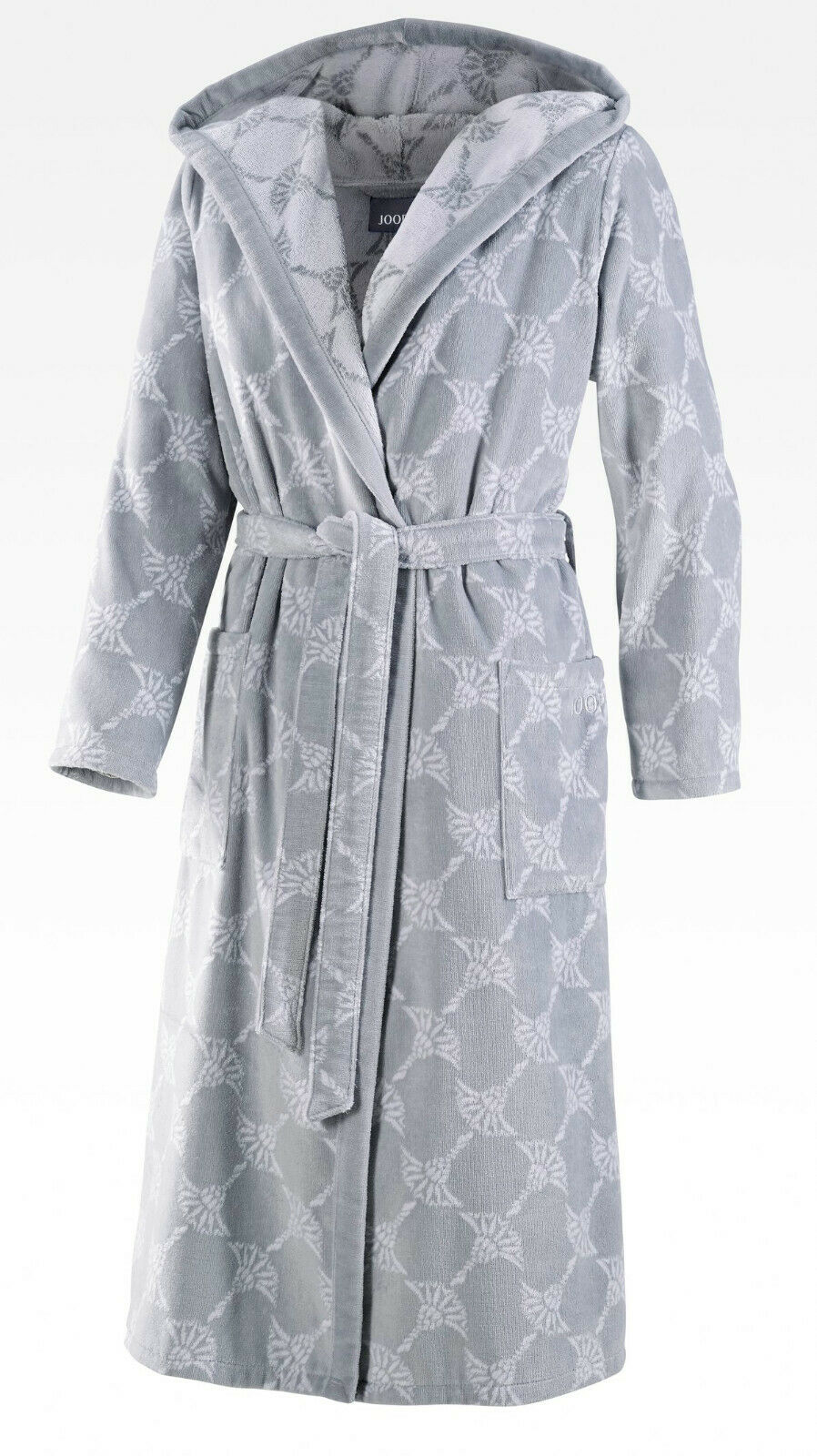 JOOP! 1646 Damen Bademantel mit Kapuze Größe 36/38 S Farbe Silber 76 NEU
