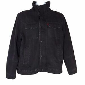 Levis Black Denim Jean Jacket Sherpa Lined Trucker Grunge Streetwear Hipster M