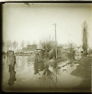 FRANCE-Tours-Crue-du-Cher-1937-Photo-Stereo-Plaque-Verre-VR2L13n5