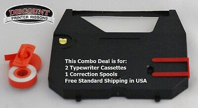 Two PK Brother SX14 Typewriter Ribbon Cartridge + Correction Tape Value Pack