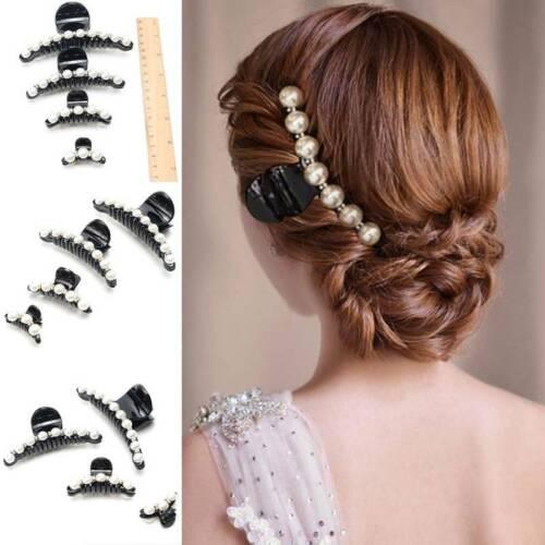 Damen Perlen Haarklammer Haarnadel Strass Kopfbedeckung Haarspange S//M//L US