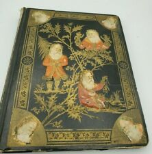 1876 Antique Victorian Scrapbook full of Die Cuts, Trade Cards, Prints