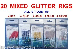 SEA FISHING PACK OF 5  x  MIXED MACKERAL COLOURED FEATHER GLITTER RIGS