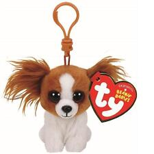 "TY Beanie Babies Boo's Barks Dog Key Clip 3"" Stuffed Collectible Plush Toy NEW"