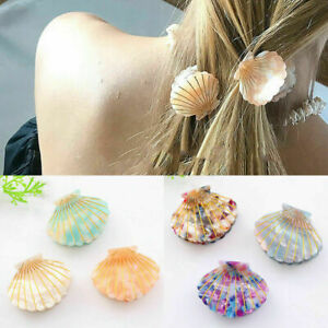 Sea-Shell-Hair-Clips-Acetate-Resin-Floral-Print-Hair-Claw-Women-Girl-Hairpins