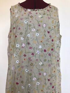 Stunning-Elegant-Summer-Dress-Linen-Floral-Tan-Maxi-Produce-Co-Women-039-s-XL