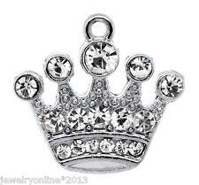 10 Silberfarbe Strass Königskrone Charm Anhänger Perlen Beads für Halskette