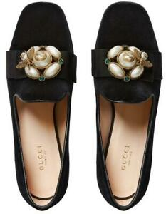 faf82236155 NEW GUCCI LADIES CURRENT BLACK VELVET PEARLS   BEE BALLET FLAT SHOES ...