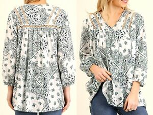 Umgee-Top-Size-XL-S-M-L-White-Lace-3-4-Sleeve-Tunic-Boutique-Womens-Shirt-New
