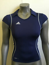 Womens Adidas T8 Clima Tight Fit Training Polo Top - Size XS - Navy - BNWT