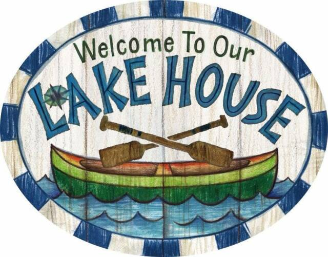 """Welcome to our Lake House PVC Indoor Outdoor Sign 15"""" Cabin Canoe"""