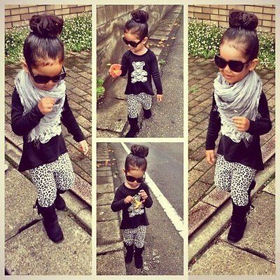 2PCS Toddler Kids Baby Girls Outfits Bear T-shirt Tops+Leopard Pants Clothes Set