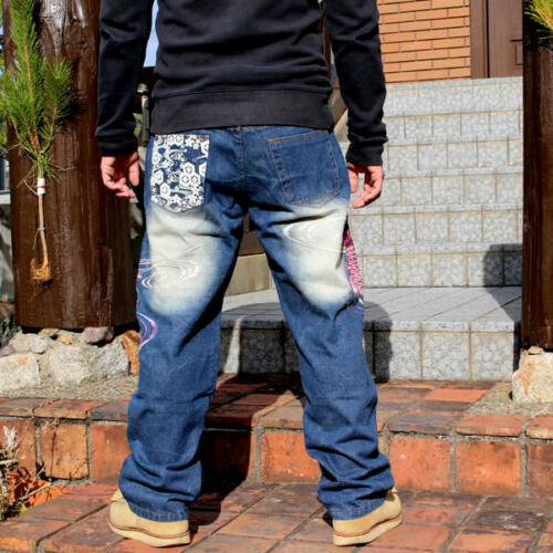 Mens Jeans Japanese Pattern Embroidered Straight Pants Denim Totem Carp Tattoo