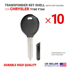 10X Transponder Key Shell For Chrysler Y160 Y164 With Chip Holder High Quality