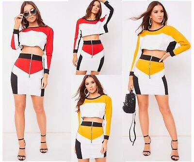 AnpassungsfäHig Womens White And Black Colour Block Panel Detail Crop Top And Skirt Co-ord Set Stabile Konstruktion