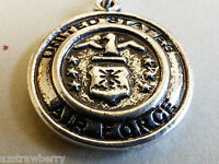 Silver Tone Metal Collectible Us Military Air Force Charm Or Pendant