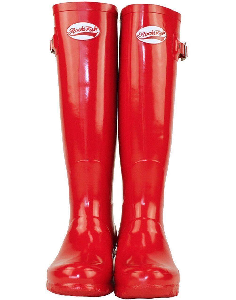 Gummistiefel Rockfish Damen Wasserfest Wellies Outdoor Stiefel rot Stallstiefel