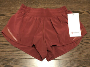"NWT Lululemon Size 4 Hotty Hot LR Short 2.5"" Lined CHIA Red Maroon"