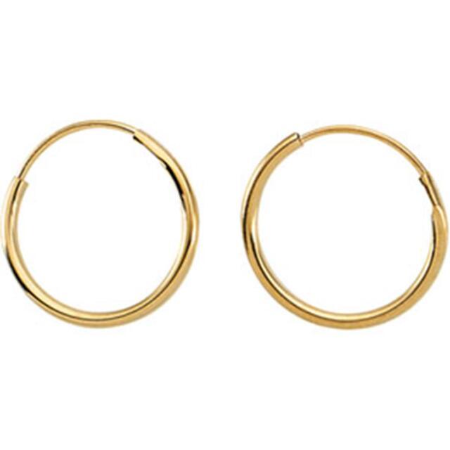 14K Yellow Gold 10mm Children/'s Endless Hoop Earrings Baby Earrings
