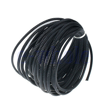 10M 4mm BLACK Expandable Braided DENSE PET Cable Sleeving Audio Sleeve DIY  BE