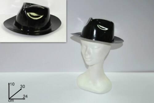 Accessori Cappello borsalino nero plastica gangster,Carnevale d72490 al capone