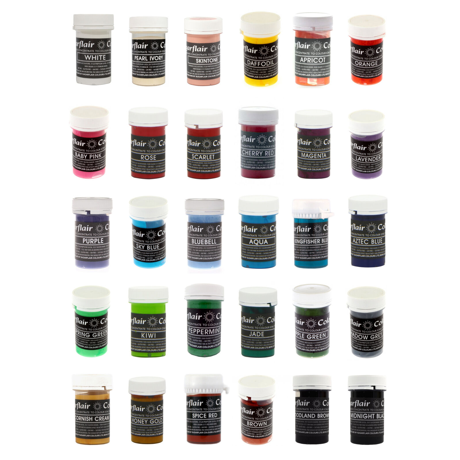 30 x Sugarflair ANY PASTEL Pastel Edible Food Colouring Paste for Cake Icing 25g